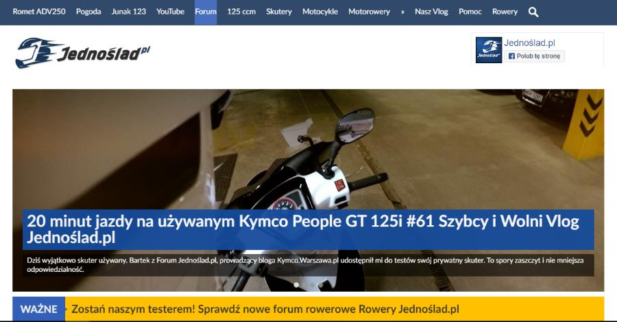 Kymco People GT 125 oficjalnie na testach w jednoślad.pl